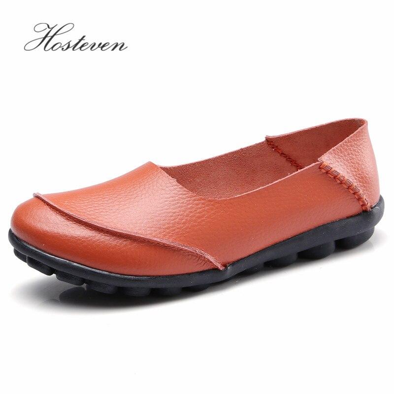 Hosteven Femmes Chaussures Appartements Mocassins Mocassins En Cuir Véritable Oxford Mère Filles Mode Casual Chaussures Chaussures de Conduite Taille 35-44