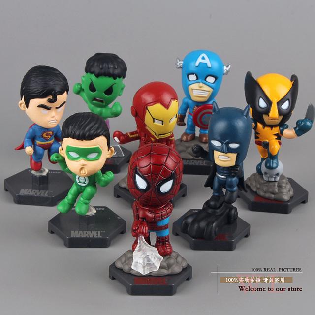 Marvel The Avengers Captain American Hulk  X-men Spiderman Action Figure 8pcs/set