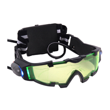Comfortable cool Green Lens Adjustable Elastic Band Night Vision Goggles Glasses LED lights