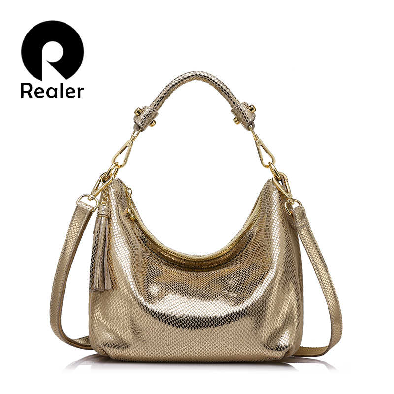 REALER brand women handbag genuine leather Chain shoulder bag serpentine pattern fashion casual tote bag lady crossbody small