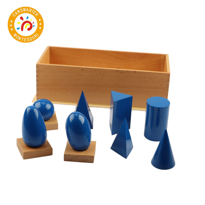 Bébé Jouet Montessori Solides Géométriques avec des Stands Bases Avec la Boîte de La Petite Enfance L'éducation jouets pour enfants