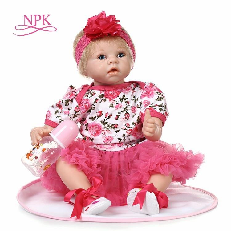 """NPK 22 """"reborn bébé poupée princesse fille poupées doux corps Silicone bébés filles réaliste réel né poupées bebe réel reborn bonecas-in Poupées from Jeux et loisirs    1"""