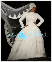 2016 Ball Gown Newest white Arabic Lace long sleeve Gelinlik Turkish Muslim font b hijab b
