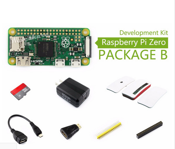 Basic Development Kit Micro SD Card, Power Adapter, Official Case, and Basic Components Raspberry Pi Zero Package B