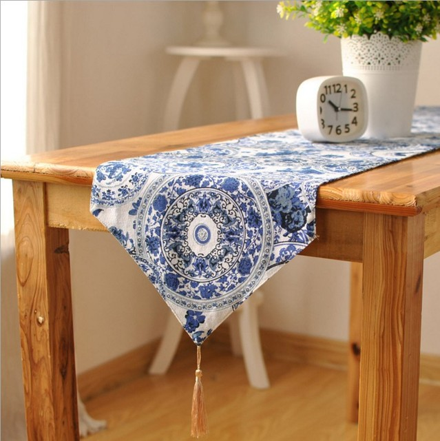 Classical Printed Blue And White Porcelain Endless Cotton And Linen Table  Runner Restaurant Home Table Decoration