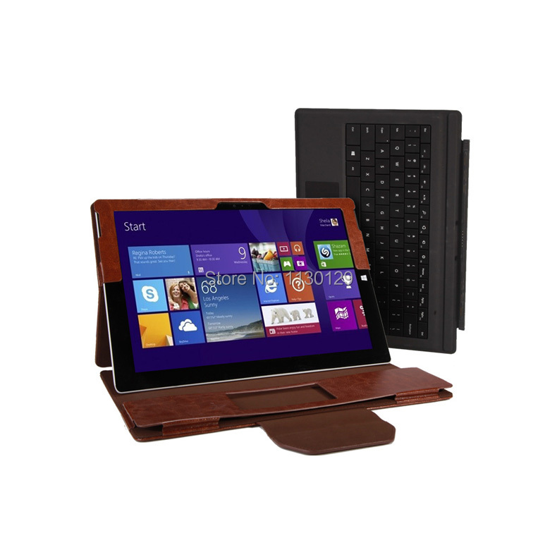 New Crazy Horse Portfolio Stand Leather Case With Keyboard