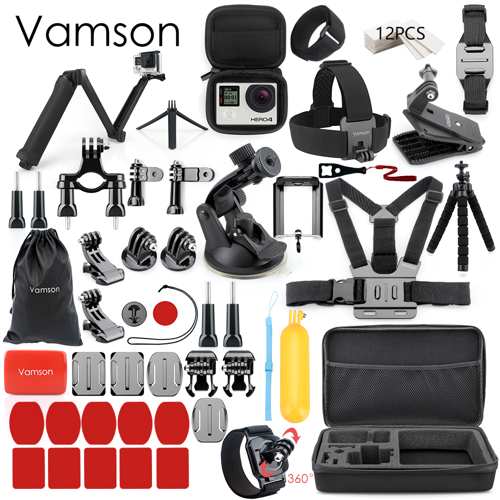 Vamson for Gopro Accessories Set for go pro hero 5 4 3 kit Three way selfie stick for Eken h8r / xiaomi yi EVA case Vamson VS77