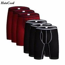 6 pçs/lote Moda de Qualidade Sexy Calcinha Underwear Masculino dos homens Extra Longas Boxers Shorts de Algodão Plus Size Calcinha Cueca Boxer grande