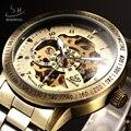 SHENHUA Luxury Top Brand Antique Bronze Skeleton Automatic Mechanical Watches Men Male Fashion Wristwatch  Relogio Masculino