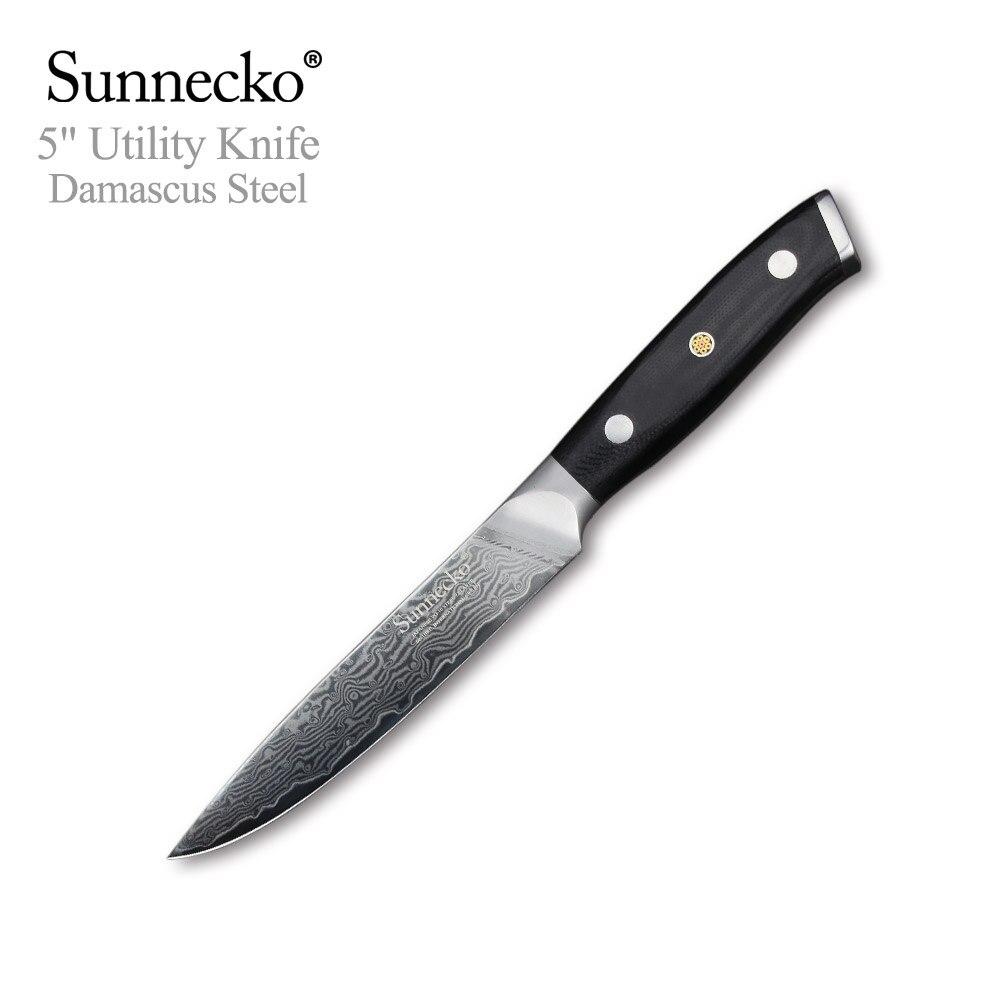 SUNNECKO 5 inch Utility Knife 73 Layer Japanese VG10 Damascus Steel Razor Sharp Blade G10 Sanding Handle Cutting Kitchen Knives