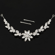 TDQUEEN Crystal Rhinestone Flower Silver Plated Bridal Hair Accessories Hot sale Tiara and Crown hair Jewelry for woman Y1018