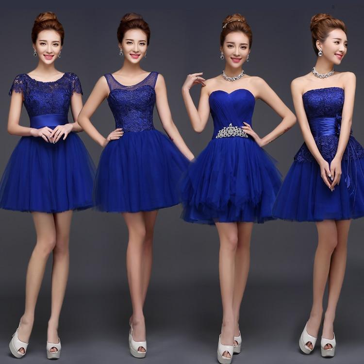 lc084m royal blue bridesmaid dress cute mini puffy lace dresses