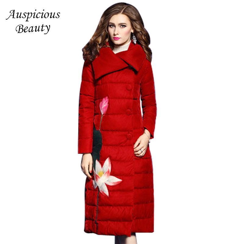 Brand Women Clothing 90% White Duck Down Coats 2017 New Winter Down Jacket Long Warm Embroidery Outwears Female Slim Coats CX11