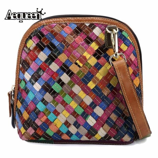 AEQUEEN Weaving Crossbody Bag Cow Leather Shell Bag Bright Colorful Messenger Bags Women Knitting Shoulder Bolsa Female Satchel