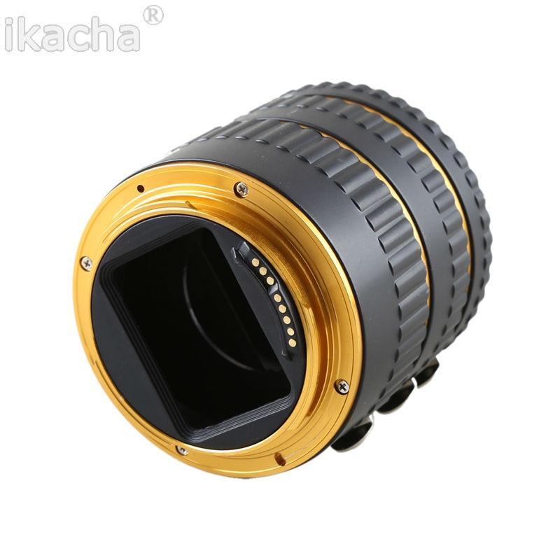 Gold Metal Mount Auto Focus AF Macro Падаўжальнік кольца для Canon EOS EF-S аб'ектыў 100D 60D 70D 550D 600D 6D 7D T5i T4i