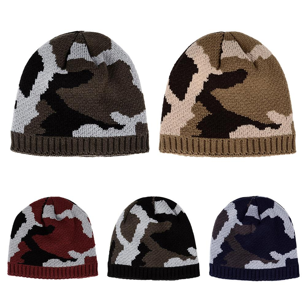 dc0876c2b911a Thicken Fleece Lining Army Camouflage Hat For Men Hunting Winter Hat Warm  Knit Camo Ski Hiking Caps Winter Climbing Fishing-in Hiking Caps from  Sports ...