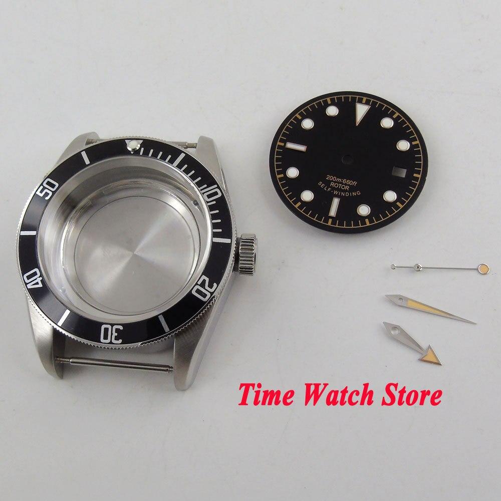 41mm boîtier de montre saphir verre noir lunette 316L en acier inoxydable Fit ETA 2836 boîtier de mouvement + cadran + aiguilles C148