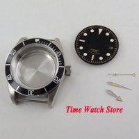 Caja de reloj de 41mm cristal zafiro negro bisel 316L Acero inoxidable ajuste ETA 2836 caja de movimiento + Dial + manos C148