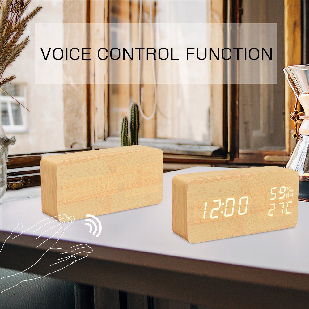 LED Cube Wooden Clock Voice Control Electronic desk Clock LED ...