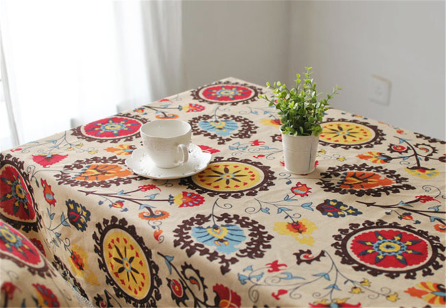 Flower Table Cloth In Cotton Linen With Colorful Vintage Pattern For Home Boutique Shop And Hotel