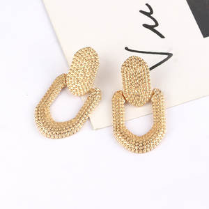 Vintage Earrings Geometric Fashion Jewelry Trend Golden-Color Women Metal for Pendant