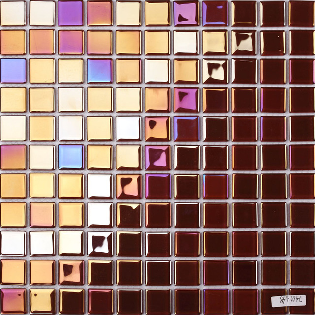 Shining Pink Electroplated Rainbow Gl Mosaic Square For Bathroom Shower Tiles Kitchen Wall Dining