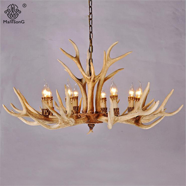Nordic countryside antlers candle chandelier e14 90260v ac resin nordic countryside antlers candle chandelier e14 90260v ac resin deer american vintage pendant lamps aloadofball Image collections