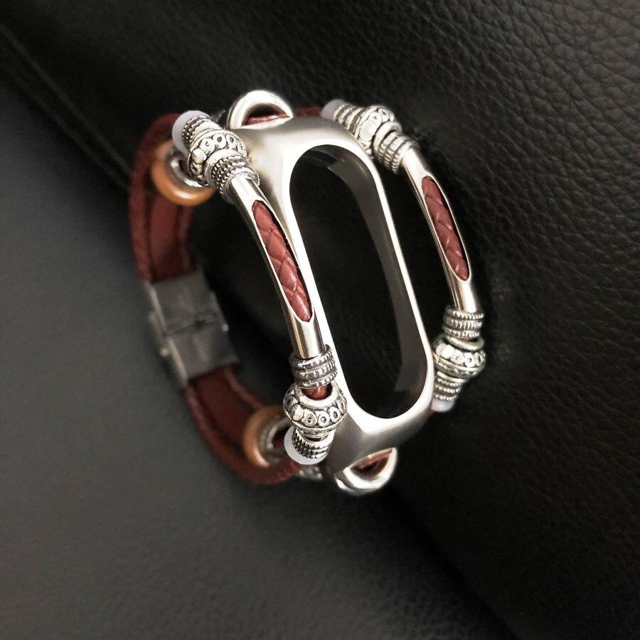 Leather Bracelet for Xiaomi Mi Band 2 Mi Band 2 Bracelet Screwless Strap MiBand 2 Wristbands