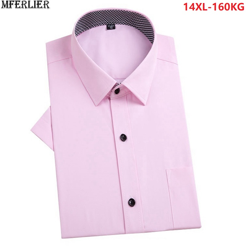MFERLIER summer black dress shirts with men short sleeve office large size big shirt pocket formal 5XL plus 52 54 56 58 140KG
