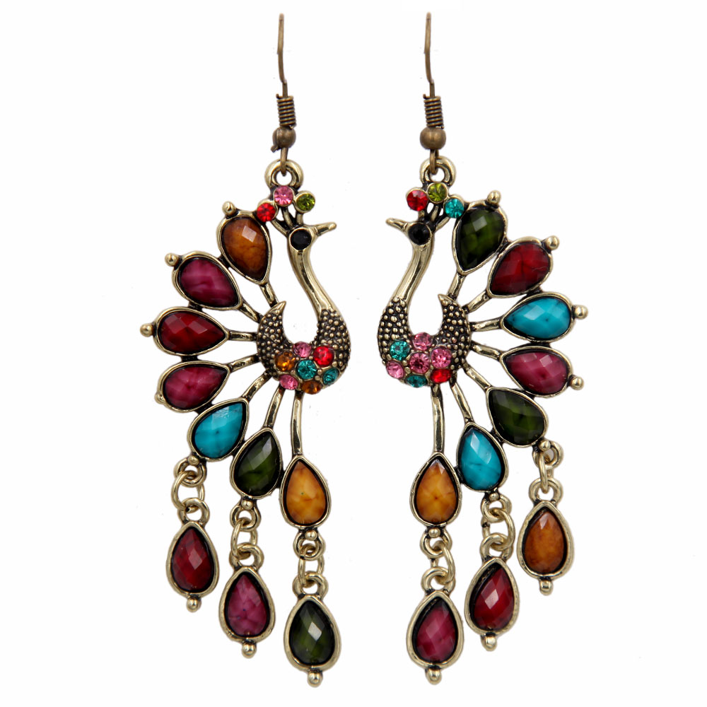 Dropwow Vintage Style Acrylic Teardrop Peacock Dangle Earrings ... 2415b6389f62