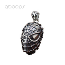 Cool Gothic 925 Sterling Silver Black Spiderman Mask Pendant for Men Boys Free Shipping thailand imports cool black star silver pendant