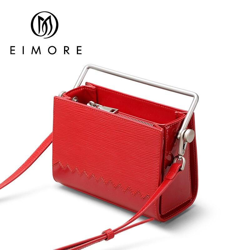 EIMORE diseñador bolso de mano de cuero genuino de oficina de mujer bolsos de mano 2019 moda femenina bolso de hombro cuadrado bolso de mensajero-in Bolsos de hombro from Maletas y bolsas    1