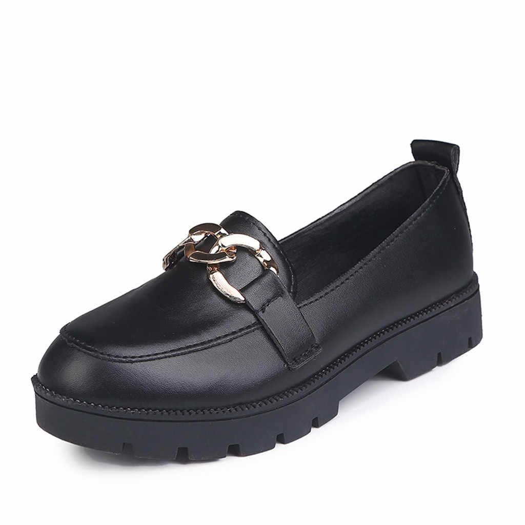 Kadın Moda 2019 Deri kısa çizmeler rahat ayakkabılar kadın Yuvarlak Ayak Kayma deri ayakkabı Kare Topuk iş ayakkabısı Dropshipping
