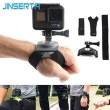 Jinserta rotação de 360 graus mão alça de pulso para gopro hero 7/6/5/4 go pro suporte de montagem à mão perna banda para xiaomi yi 4k sj4000