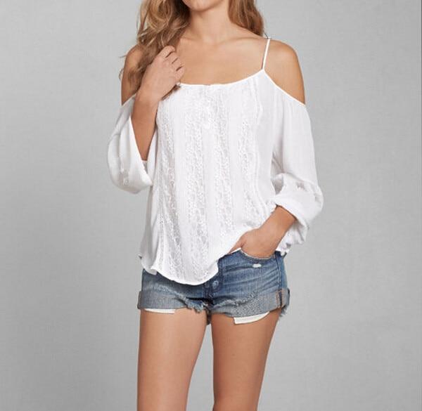 8ac436f54d0e75 2016 summer hot sale women cold shoulder tops sexy white lace off shoulder  blouse casual loose chiffon blouses shirt women