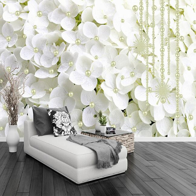 Modern Fashion 3D Stereoscopic White Flowers Jewelry Pearl Photo Wallpaper Living Room Home Interior Decor Wall Mural Wallpaper