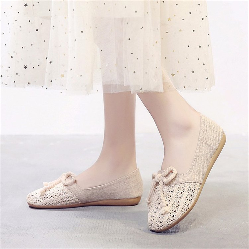 2019 Summer New Fashion Shoe Women Slip on Non Leather Casual Shoes Antiskid Breathable Flat Shoes Women Shoes zapatos de mujer in Women 39 s Flats from Shoes