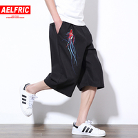 AELFRIC Animal Embroidery Black Casual Sweatpants Men Linen Shorts Summer Hip Hop Bodybuilding Kanji Shorts Plus Size 5XL TR17