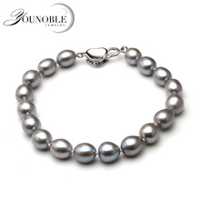 Real Beautiful grey freshwater pearl bracelet women,wedding 925 silver jewlery cultured charm knot bracelet girl birthday gift beautiful natural freshwater multicolor pearl bracelet women wedding charm bracelet 925 silver jewlery girl birthday gift box