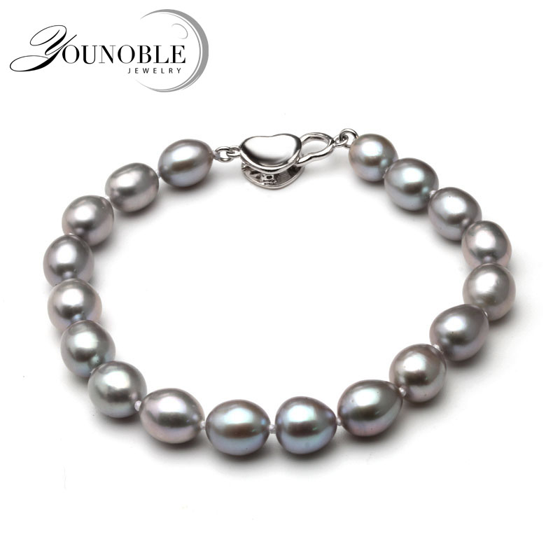 Real Beautiful grey freshwater pearl bracelet women,wedding 925 silver jewlery cultured charm knot bracelet girl birthday gift