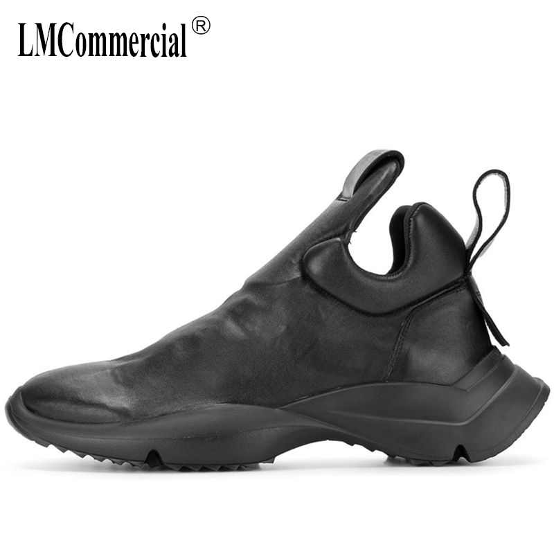 Men s high top real leather casual shoes autumn winte chelsea boots men cowhide cowboy boots