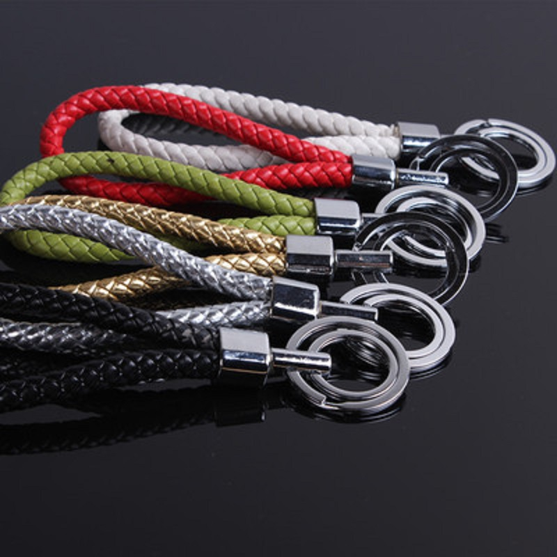 Image 3 - Car Handmade  Leather Rope Woven Key Rings Metal Keychain High end Men or Women Auto Keyring Gifts Accessories-in Key Rings from Automobiles & Motorcycles