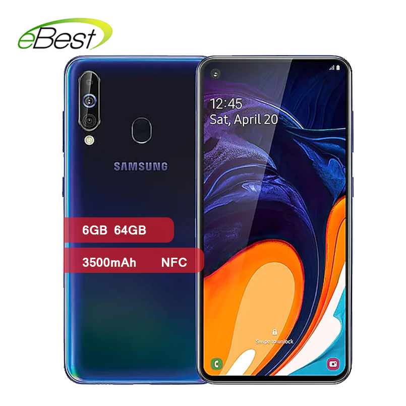 Samsung Galaxy A60 4G Smartphones 6.3 Inch FHD+ Octa Core 6GB RAM Android 9.0 Triple Camera 3500mAh Dual SIM NFC Mobile Phone-in Cellphones from Cellphones & Telecommunications
