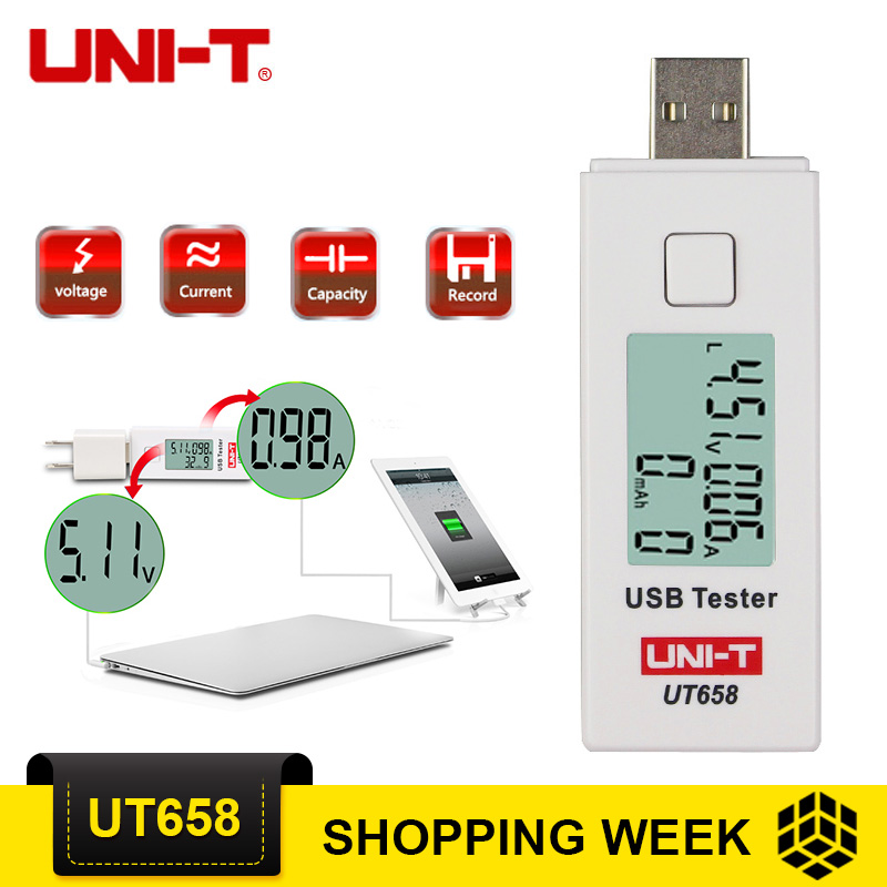 UNI-T UT658/UT658B USB Tester Digital LCD Voltage Monitor Current Meter Capacity Tester UT658 Voltmeter Ammeter usb oled tester hidance usb oled safety monitor tester current meters charger ammeter voltmeter battery mobile power supply capacity detection
