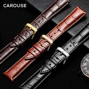 Ремешок для часов Carouse, черный, из натуральной кожи, 14 мм, 16 мм, 18 мм, 19 мм, 20 мм, 21 мм, 22 мм, металлический браслет с пряжкой