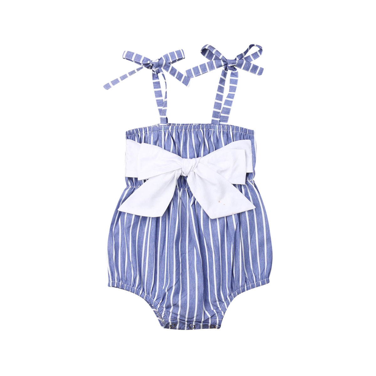 0-24M Summer Cute Infant Kids Baby Girls Bodysuits Blue Striped Sleeveless Belt Jumpsuits Clothes(China)