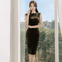 See Through Hollow Out black  Floral Lace Dress Women sleeveless Work Business Pencil Bodycon o neck Casual Party Dress 831i3
