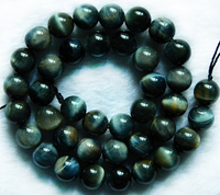 Free Shipping Natural Color Smooth Round 12mm Hawk S Eye Beads Stone Class A Wholesale