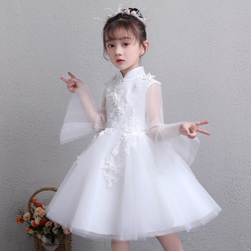 2018 Autumn New Little Girls Children Pure White Wedding Birthday Party Flare Sleeves Princess Dress Kids Baby Piano Prom Dress 2017 new high quality girls children white color princess dress kids baby birthday wedding party lace dress with bow knot design