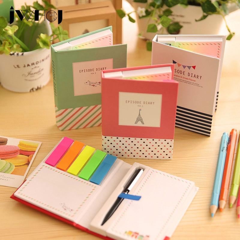 1 conjunto criativo capa dura memo pad post notepad notas kawaii papelaria diário caderno material escolar escola + caneta